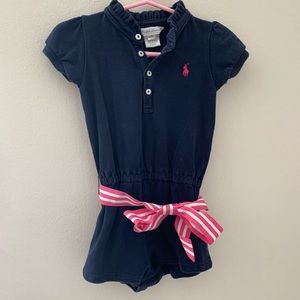 Ralph Lauren Polo Romper w/pink & white bow